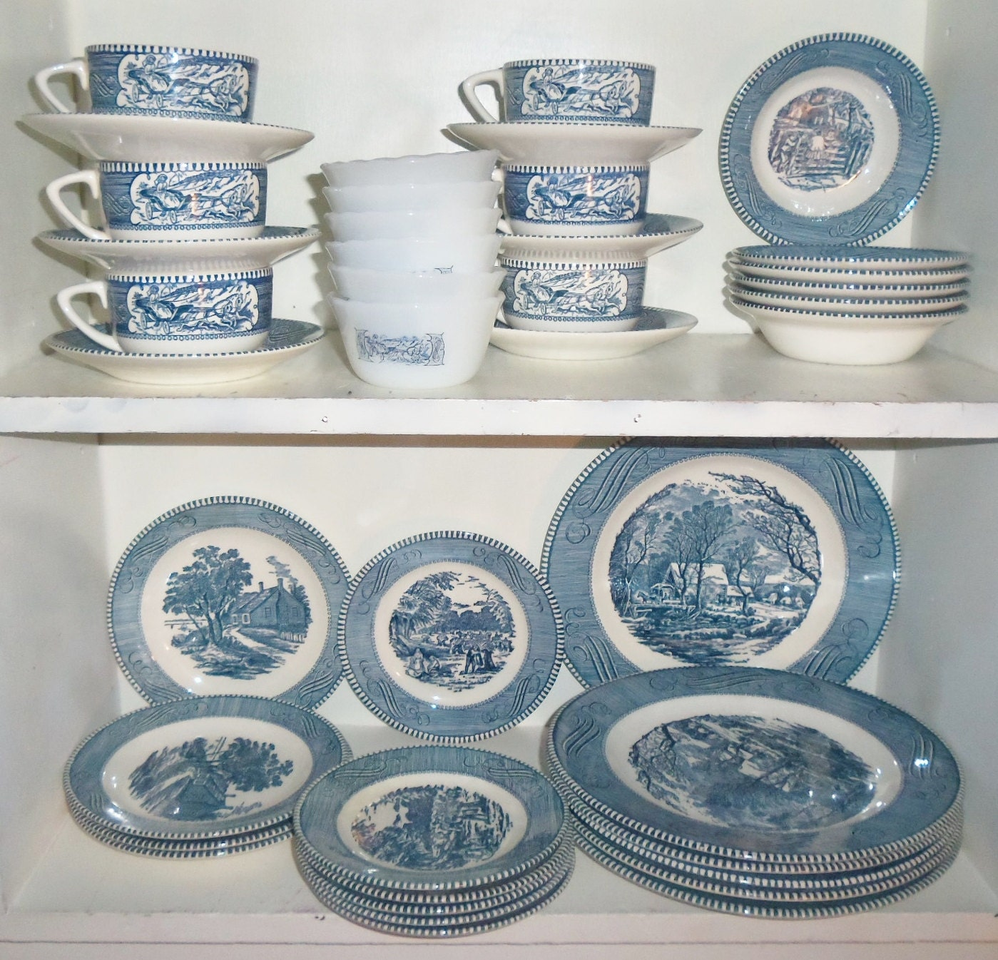 40pc Vintage Blue Currier Amp Ives Royal China Dish Set
