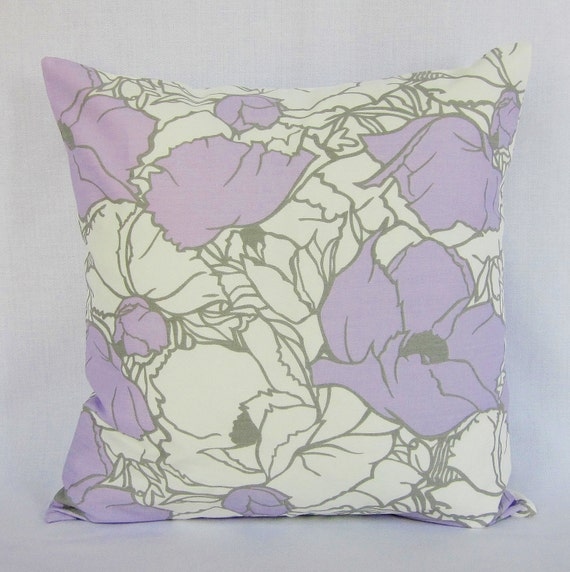 Lilac Floral Throw Pillow : Lavender Gray Floral Pillow Cover Lilac Gray by GigglesOfDelight