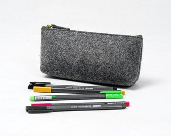 S M L Size Simple Felt Pen Pencil Case Pouch Bag Sleeve Storage Bag Cosmetic Coins USB Earings Pouch E445