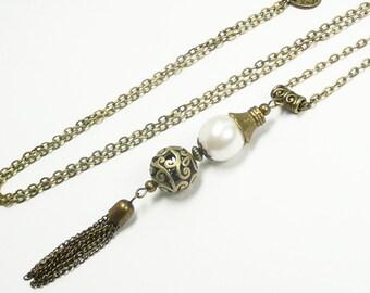 Long pendant necklace, pearly bead pendant, pompom pendant, bronze jewelry, vintage jewelry