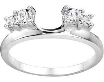 Graduated Three Stone Wedding Ring Wrap - Sterling Silver with Cubic Zirconia (.40ct )