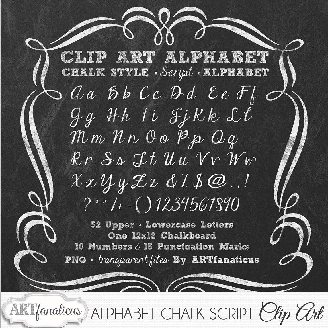 chalkboard clip art alphabet chalk script 1