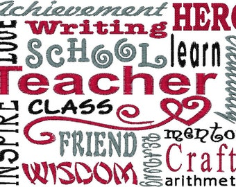 Teacher Embroidery Design - See Second Pic for stitch out sample.