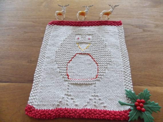 Dishcloth knitting pattern Christmas robin