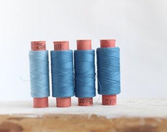 Soviet Vintage Thread Spools - set of 4 - Blue