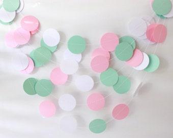 Wedding Garland, Pink, Mint Green & White Paper Garland - Baby Shower, Bridal Shower, Birthday Decor, Party Decorations, Baby Nursery