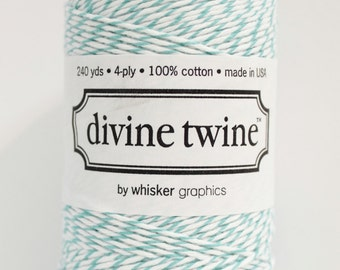 Teal Bakers Twine-Teal Twine, Teal and White Bakers Twine (240 yards) Bakers String, Wedding Favor, Gift Wrap, Tag Twine, Mason Jar Twine