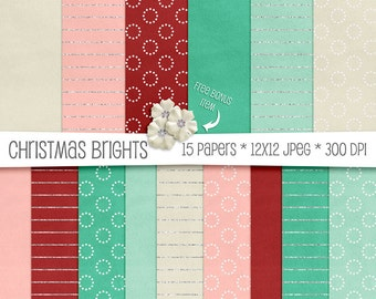 Christmas Brights Velvet  Paper Pack - Teal, Red, Pink & Cream - 15 High Resolution Printable JPEGs - 300 DPI - 12x12 - CU OK