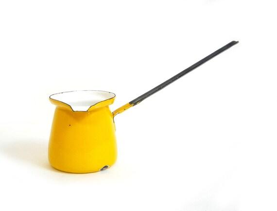 Turkish Enamel Coffee Pot Butter Warmer Yellow Small Vintage