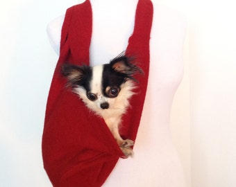 Puppy Scarf Dog Sling Pet Carrier in Red by HeartPup