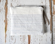 Small Coin Pouch - Off-white with Gray Blue Stripe Print - Screen Printed Coin Purse
