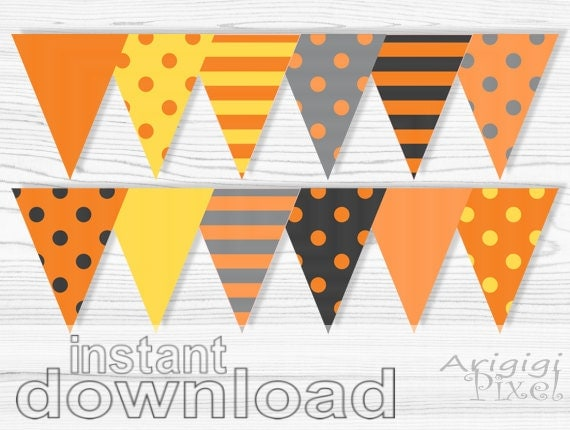 Halloween Printable Banner, Polka Dot, striped pennant, orange, gray, party bunting banner, party decoration, instant digital download