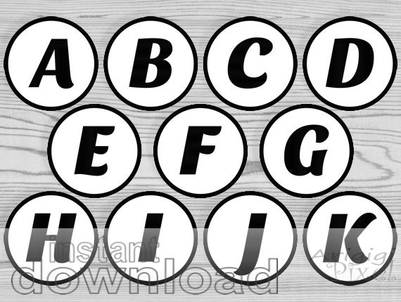 black letter number, party circles, printable 2 and half in circles alphabet, for cupcake toppers, bingo number, instant download