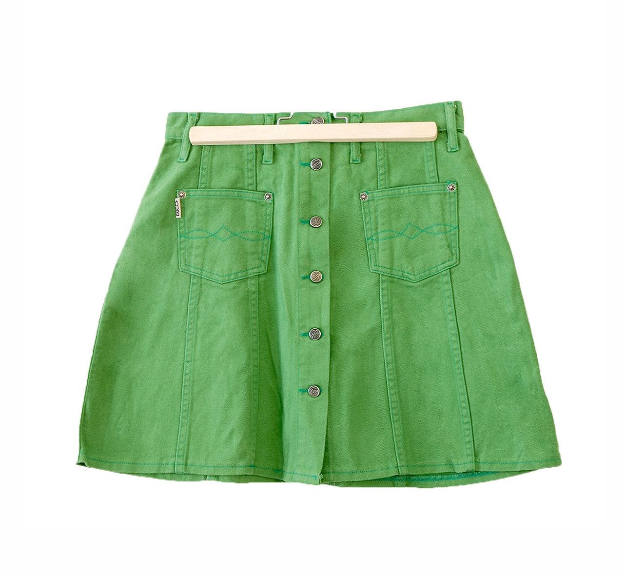 mini skirt green denim fashion neon button up