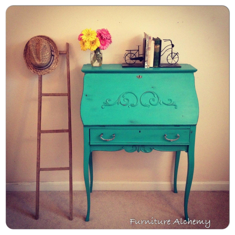 On Hold-Turquoise Antique Secretary Desk-shabby Chic