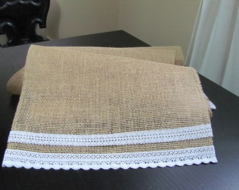 Simple Lace & Burlap Table Runner - Wedding / Event Supplies
