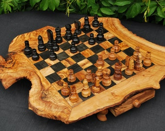 Handmade Olive Wood Chess Set, ca. 40x40cm