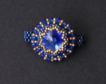 Sapphire Swarovski Crystal, Iris Blue and Gold Beaded Ring