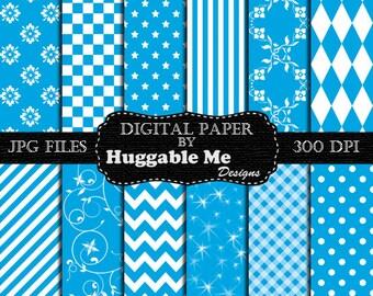 Blue Scrapbook Paper - Instant Download Blue Pattern Paper for Wedding, Scrapbook, Backgrounds, Cards 12x12 - HMD00089