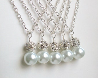 Bridesmaid Gift Set of 6 White Bridesmaid Necklaces Pearl Bridesmaid gift Bridesmaid jewelry white wedding party necklace