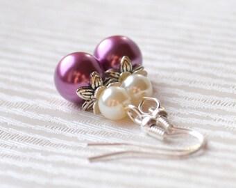 Violet beaded bridesmaids earrings, Purple Bridesmaids jewelry Bridesmaid gift jewelry wedding party Purple earrings Flower girl gift