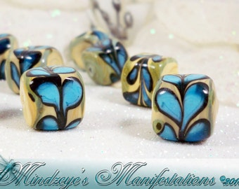 Hand Painted Porcelain Cube Beads 13mm
