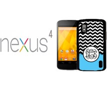 Google Nexus 4 Case - Black and White Chevron Light Blue Monogram - Personalized Covers - Nexus 4 Case