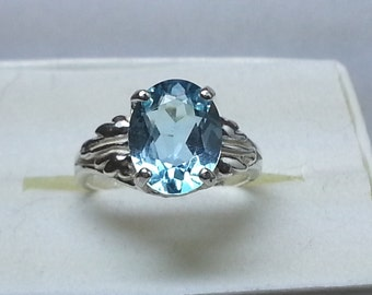 Natural Blue Topaz 2.55 ct Sterling Silver Ring Size 5