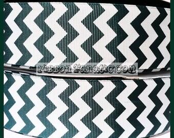 "5 yds 1.5"" Hunter Green Forest Green Chevron Striped Grosgrain Ribbon"