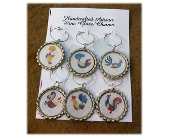 Vintage Rooster Wine Glass Charms