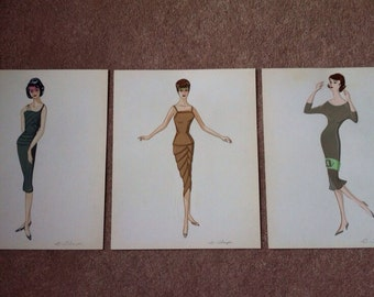 Beautiful  B Thayer original vintage artwork fashion illustrations from the 50s/60s