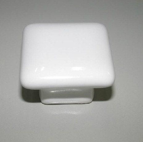 Kitchen cabinet square knobs white ceramic dresser drawer for Square kitchen cabinet knobs