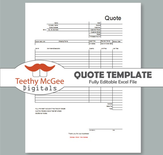 quote form template instant download editable business tool. Black Bedroom Furniture Sets. Home Design Ideas