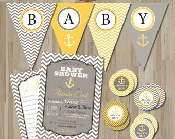 Nautical Baby Shower Invitation Party Pack. DIY card. Yellow and Gray Chevron.