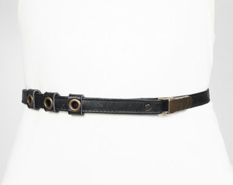 SALE - MIKE - thin leather belt, tie at the waist - black