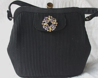 Vintage Purse - Black - Change Purse and Pin Included -wedding