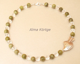 Chain necklace jade faceted rock crystal