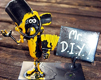 DIY Handyman Disaster Mouse Sculpture, made from Recyled Steel