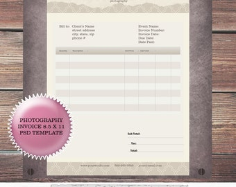 Photography Invoice PSD Template 8.5 x 11 Photography contract