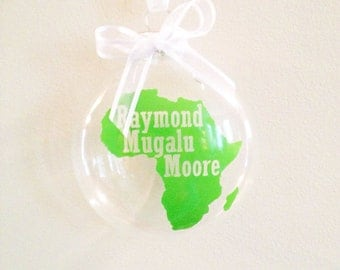 Personalized Africa Christmas Ornament, Adoption, Travel