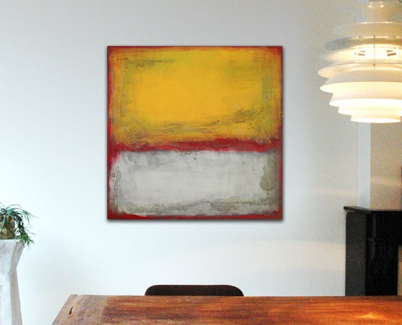 "Original Abstract painting - Red and Yellow Boxed - Acrylic painting - 31,5"" x 31,5"" - Free shipping nr9"