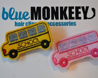 School Bus Hair Clip - Pink or Yellow