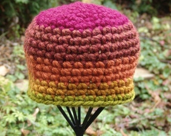 READY TO SHIP: Handmade Crochet Chunky Fall Colors Beanie Hat in Red, Orange, Yellows