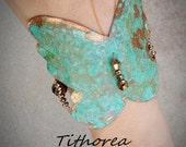Green Patina Copper Butterfly Bracelet