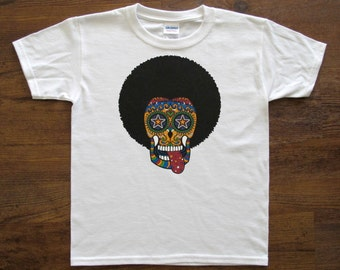 Youth T - Sugar Skull with AFRO (White Shirt)