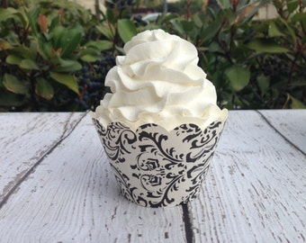 Black and Cream Cupcake Wrappers (Set of 12)