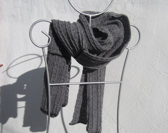grey wool crochetted scarf, for him or for her