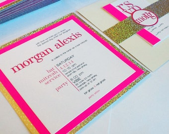 Neon Pink and Sparkle Bat Mitzvah Invitation