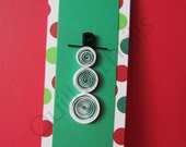 Quilled Snowman Holiday Bookmark