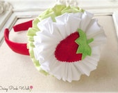 Red Strawberry Headband Shabby Fabric Flowers Baby girl Accessory